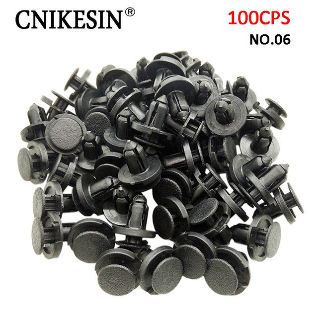 CNIKESIN 100PCS/lot 8mm Car fasteners Auto Front / Rear Bumper Mudguard Plastic Rivet Clips for Nissan Accessories Car Styling