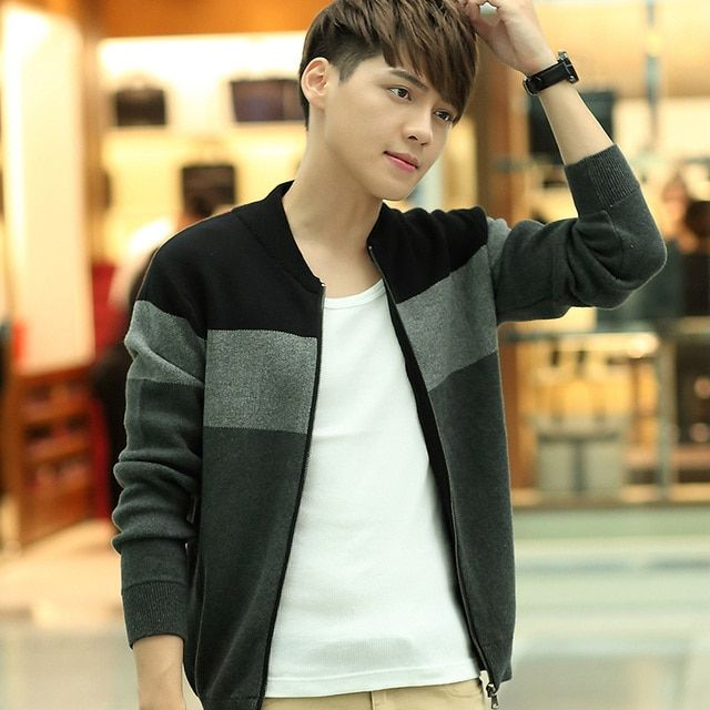 2016 new men's Cashmere Cardigan Sweater Jacket Mens knit sweater coat zipper cardigan thickening