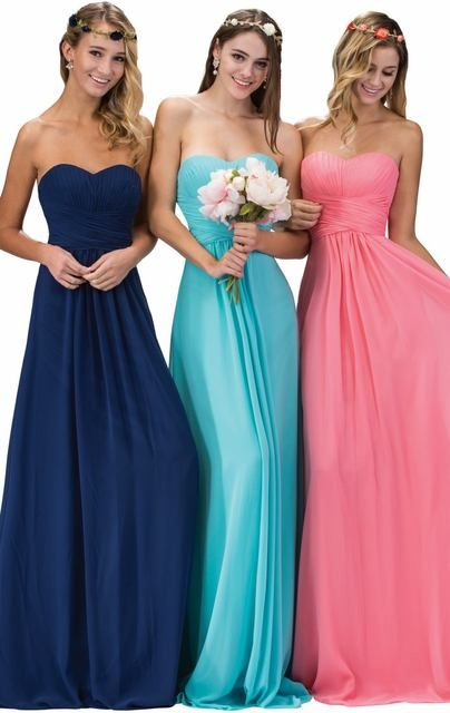 2017 Pleat Bridesmaid Dresses Real Photos Built Bra Blue Pink Navy Pink Champagne Stock Cheap Wedding Party Dress D1511125