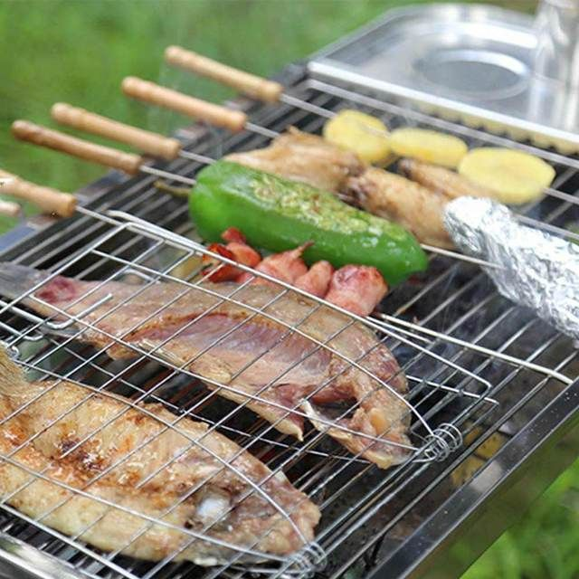Camping Grill Rack BBQ Clip Folder Grill Roast Folder Basket Tool Meat Fish Vegetable BBQ Tool Wooden Handle