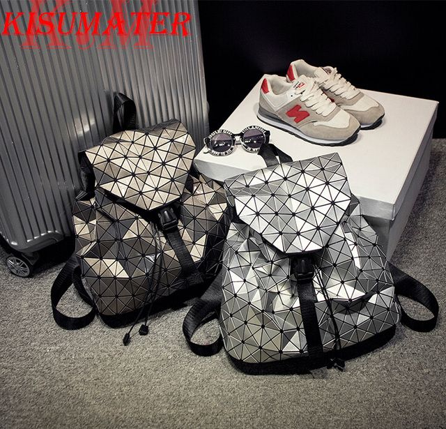 Kisumater Luminous Backpack New women backpack Geometric Lattice laser silver bag logo Noctilucent  backpack high quality