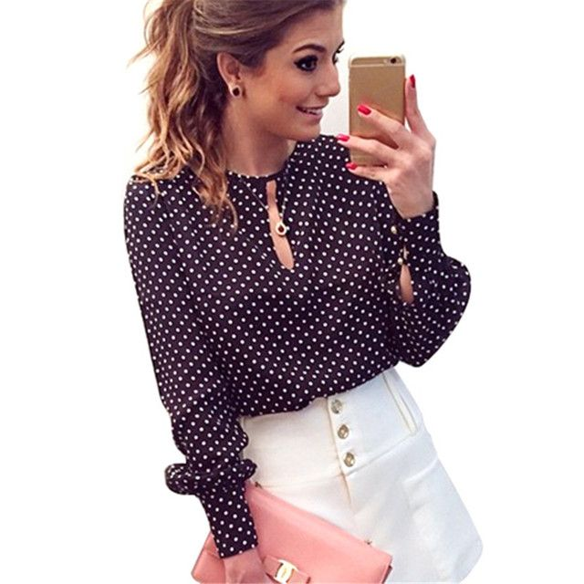 Summer Autumn Women Collocation Blouse Fashion Women Casual Long Sleeve Blouse Summer Chiffon Polka Dots Shirt Tops