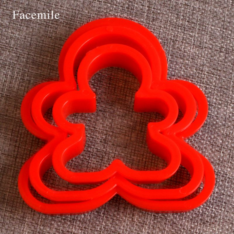Christmas Cookie Cutter Gift plastic Gingerbread Men Shaped Holiday Biscuit Mold Kitchen cake Decorating Gift 03008