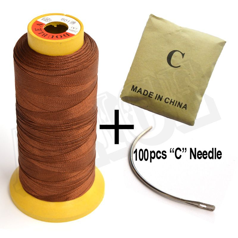 100pcs C Curve Needle 1 Roll Brown Weaving Thread For Hair Extensions Sew In Hair Needle And Thread