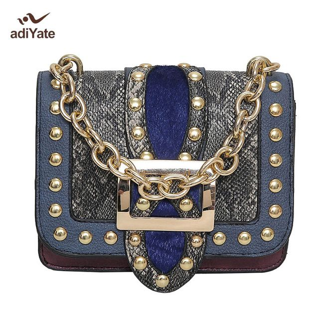 ADIYATE Chain Serpentine Rivets Women Bag Oblique Bag Sac a Main Femme Marque Luxe Cuir 2017 Serpentine  Bolsas Feminina Novelty