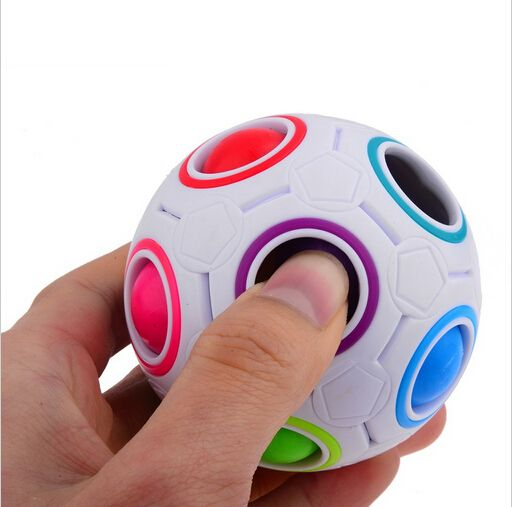 HOT Spherical Cube Rainbow Ball Football Magic Speed Cube Puzzle Children's Educational Toys Cubes GMF for baby free shipping