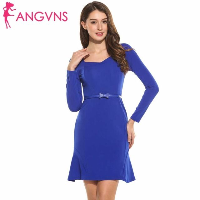ANGVNS Pencil Dress Vintage Dresses Lady Women 2017 Elegant Spring Vestidos Bodycon Long Sleeve Mini Short Dress with Bow Belt