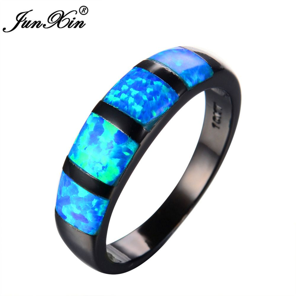 JUNXIN Round Blue Fire Opal Ring Black Gold Filled Vintage Wedding Rings For Women Bague Femme Fashion Jewelry Gift
