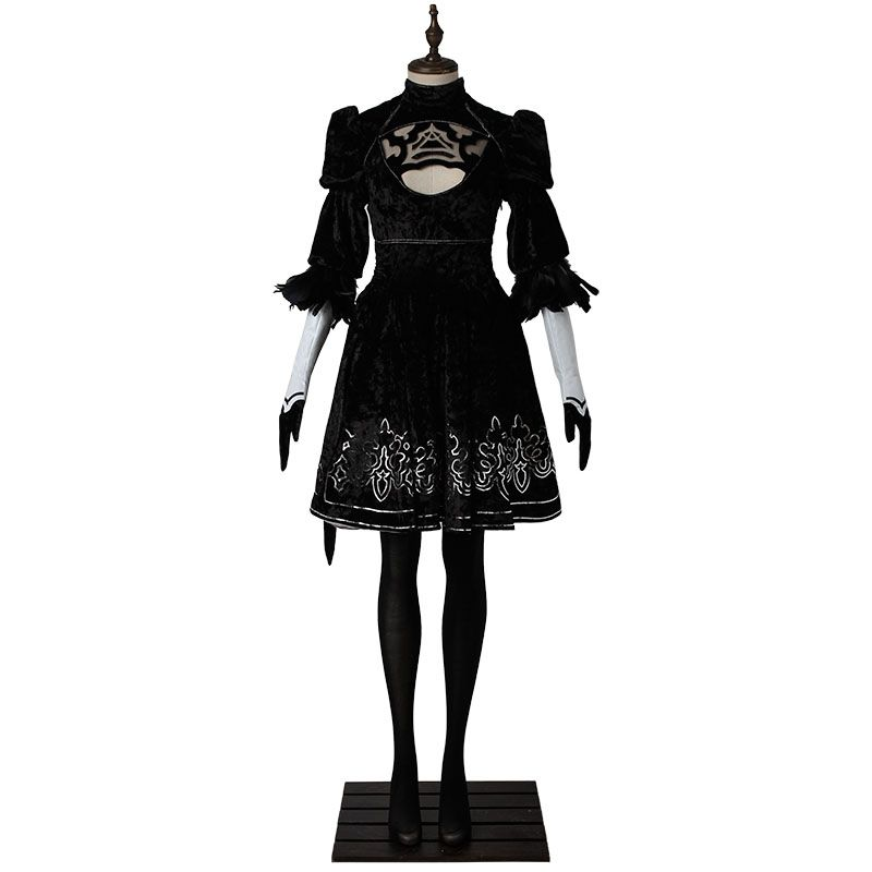 NieR Automata 2B Dress Cosplay Costume YoRHa No 2 Type B Cosplay Outfit Women Dress 2017 Game Halloween Party Ball Custom Made