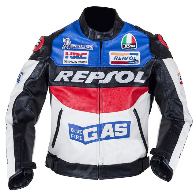 Duhan Repsol Motocross Jackets Repsol motorbike racing jackets PU leather Oxford cloth, orange & blue color M - XXL