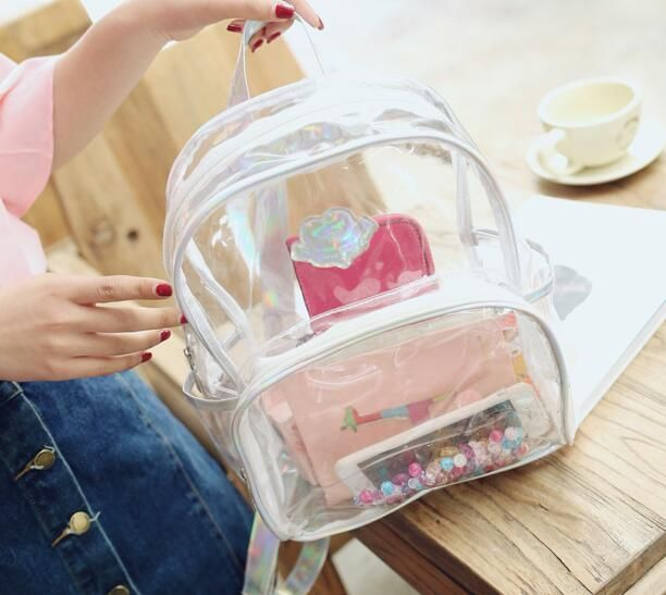 2018 New Transparent Backpack Women Silver Hologram Laser Backpack Holographic Backpack Multicolor Schoolbag