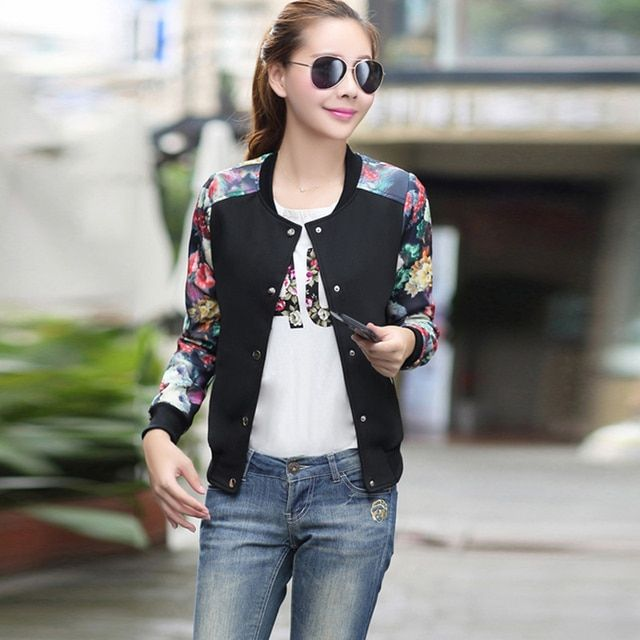 2016 Flower Print Plus Size Leisure Baseball Jacket Women Round Collar Button Thin Bomber Jacket Long Sleeves feminino Coat