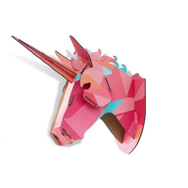 Wooden Animal Horse Unicorn Head Wall Hanging Creative Wood MDF Crafts Art 3D Wall Decoration Best Gifts For Birthday