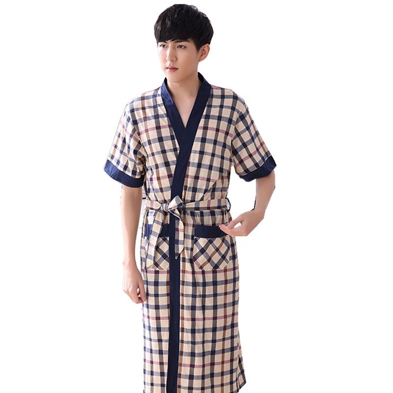 2017 Summer 100% cotton Mens Bath robe male  knee Length sleepwear bathrobes For Man lounge 5931