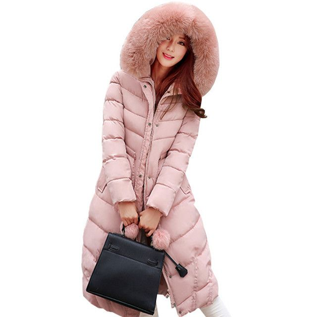 Long Jacket Women 2016 Ladies Winter Coat New Fashion winterjas dames thick down cotton pad fur hooded parka