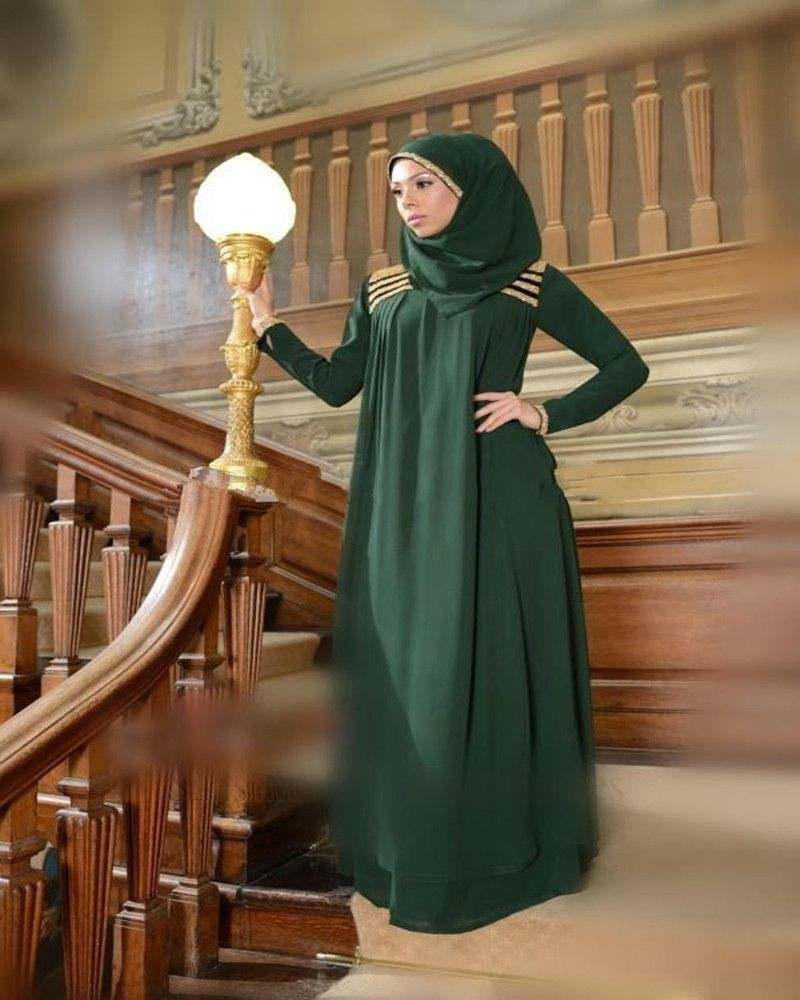Elegant Green Muslim Party Gown Plus Size Evening Dress Long Sleeve Beaded Floor Length Chiffon Italian Prom Dresses