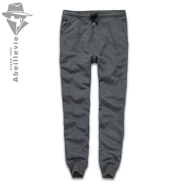 Abeillevie New Fashion Cotton Long Men's Pants Solid French Terry Casual Pants Men Big & Tall Plus Size Joggers SweatPants 8611