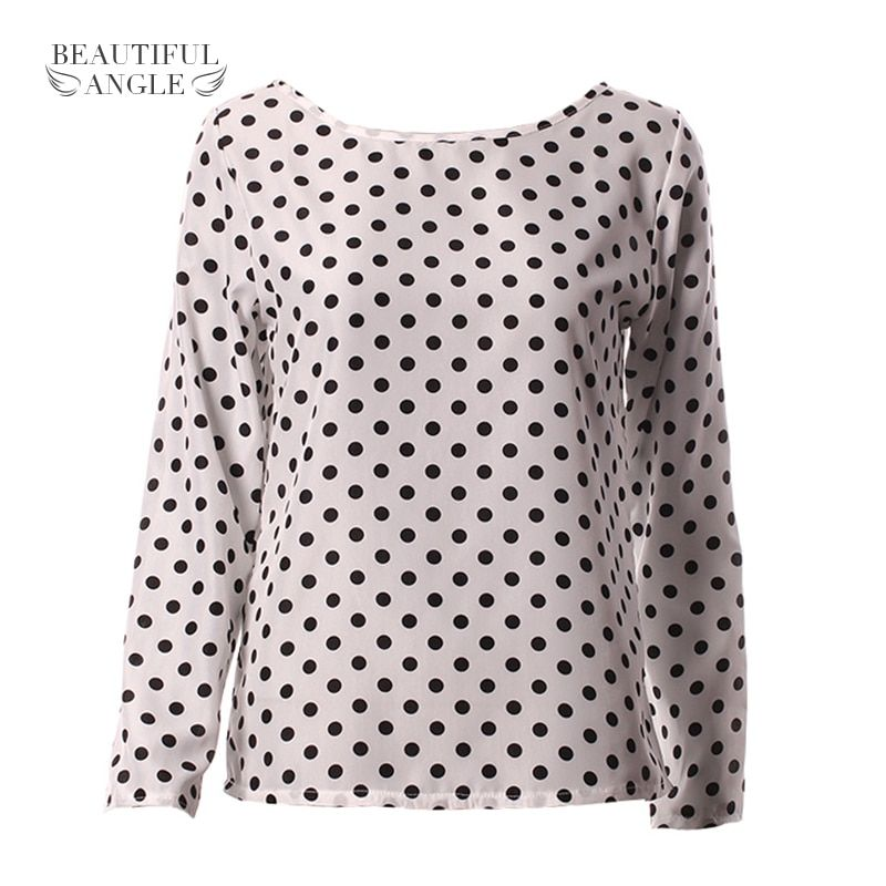 Women fashion 2018 new round collar camisa dot chiffon wave point long-sleeved shirt clothes Female Blouse