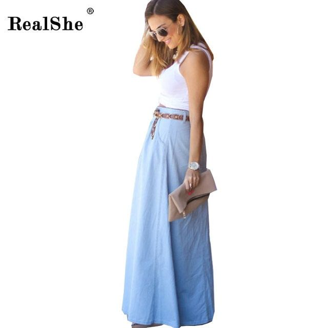 RealShe Women Long Skirt 2017 Summer Women Fashion Natural Waist Casual Long Skirt Womens Plus Size Denim Skirt Saias RS2211