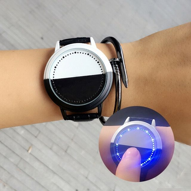 Creative personality minimalist leather LED digital watch men women couple watch smart electronics student lovers casual watches