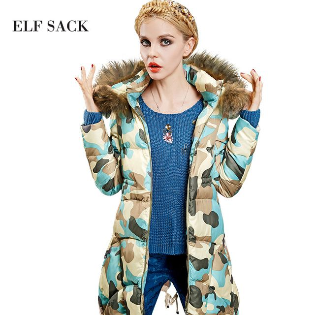 ELF SACK Women Winter Printed Camouflage Pattern Fur collar Metal Zipper Tunic White Duck Down Warm Trench Down Jacket