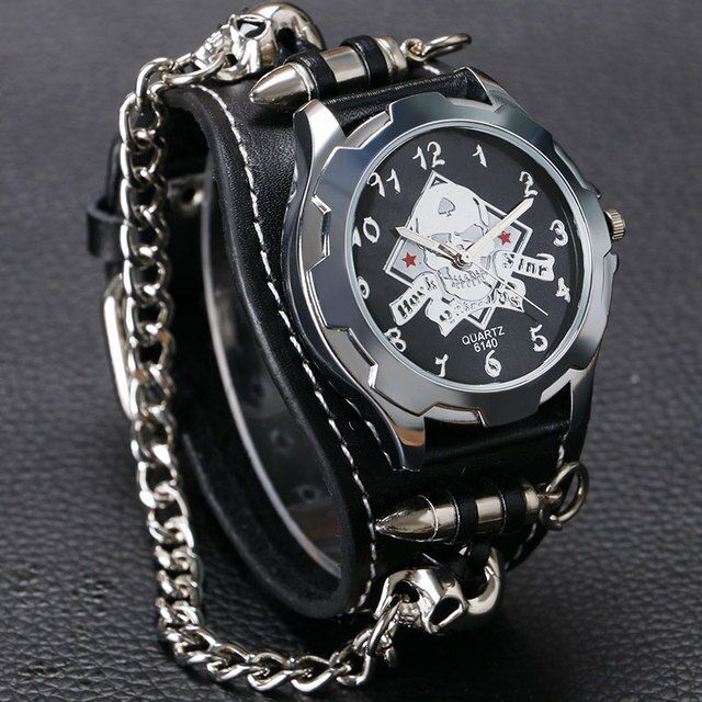 Cool Ghost Skull Cover Design Black Leather Watch Men Fashion Sports WristWatch Bracele Bangle Watches Wholesale