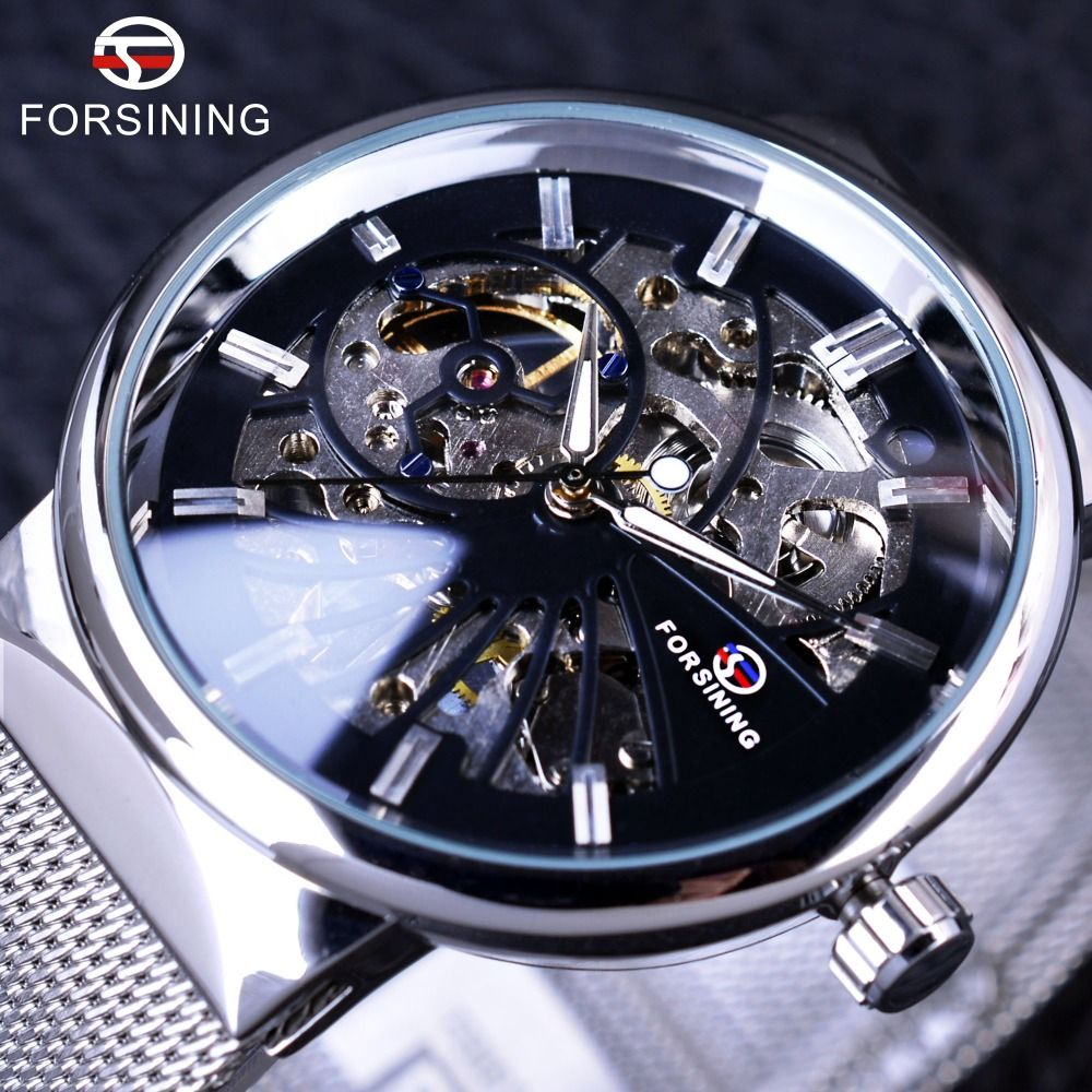 Forsining 2017 Fashion Neutral Design Silver Steel Men Short Small Dial Mens Watches Top Brand Luxury Mechanical Skeleton Watch