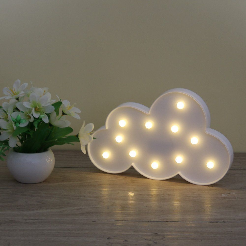 3D Marquee 11LED Cloud Night Lamp White Cloud Letter light For Christmas Decoration Kid's Gift battery operated