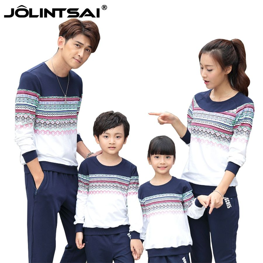 Family Look Clothing 2016 Autum Christmas Family Matching Mother Daughter Son Father Clothes Long Sleeve Cotton Baby Outfits