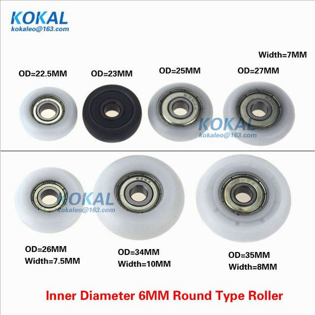 [R-ID6] Free Shipping 10PCS 626zz 696zz ball bearing Inner Diameter 6MM plastic coated roller wheel 22-35MM round wheel pulley