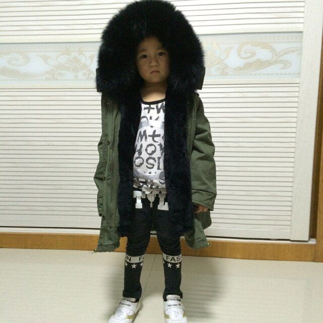 little girl/boy fur parka real fox fur coat genuine fox fur outwear
