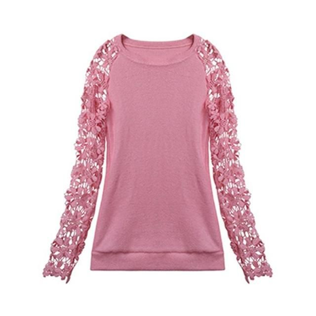 2016 Spring Autumn Fashion Women Long Sleeve Lace Patchwork Casual Pullover Ladies Sweaters