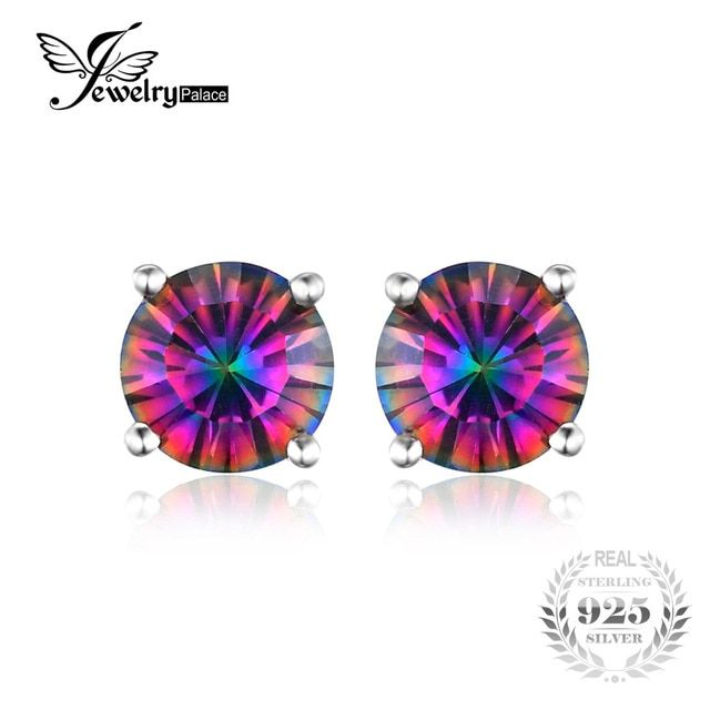 JewelryPalace Round Concave 4.9ct Genuine Rainbow Fire Mystic Topaz 925 Sterling Silver Stud Earrings For Women Vintage Jewelry