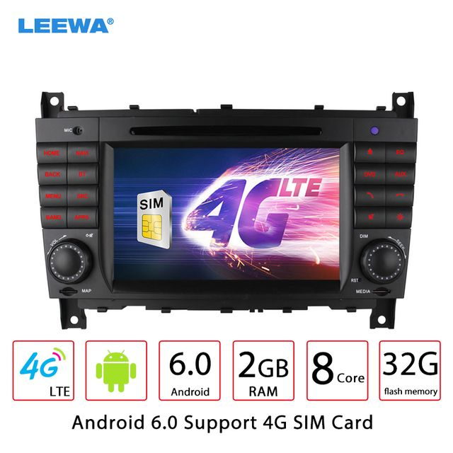 "7"" Android 6.0 (64bit) DDR3 2G/32G/4G LTE Octa Core Car DVD GPS Radio Head Unit For Mercedes Benz C-Class W203 / CLK W209"