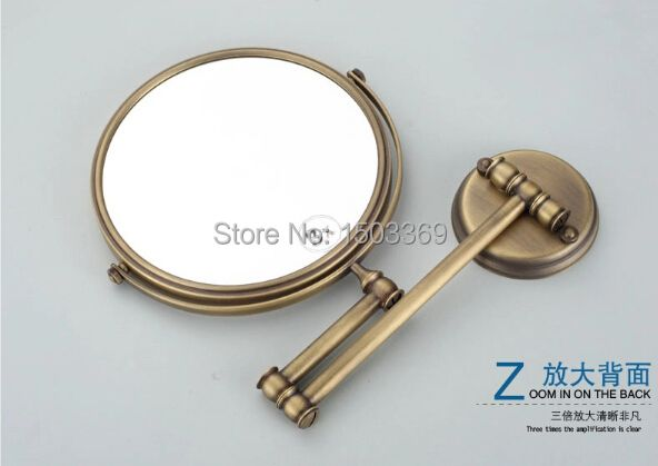 "Europe style bathroom Mirror 8"" brass cosmetic mirror dressing-up mirror bronze finished double face 3times make-up mirror"