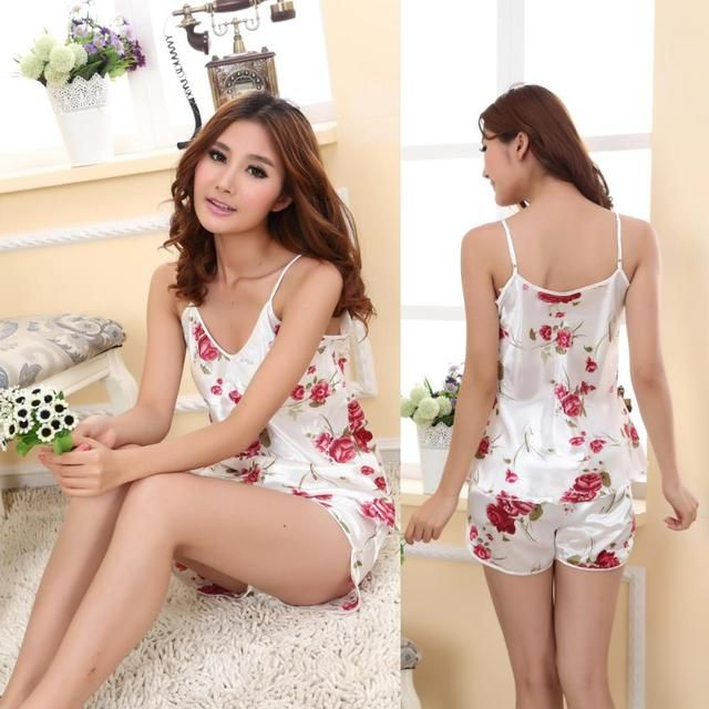 Summer Sexy Women Sleepwear Sets Print Spaghetti Strap+Shorts Women Costume Sleepwear Nightwear