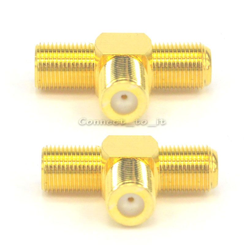 2 Pieces F Female to Two F female Jack Triple T RF Adapter Connector 3 Way Splitter