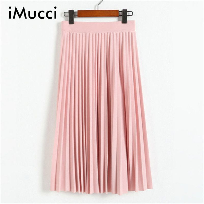 Autumn New Casual Chiffon Skirts for Women Solid Slim A-Line Mid-Calf Pleated Skirt Chiffon All Match Elegant Women Skirt Long