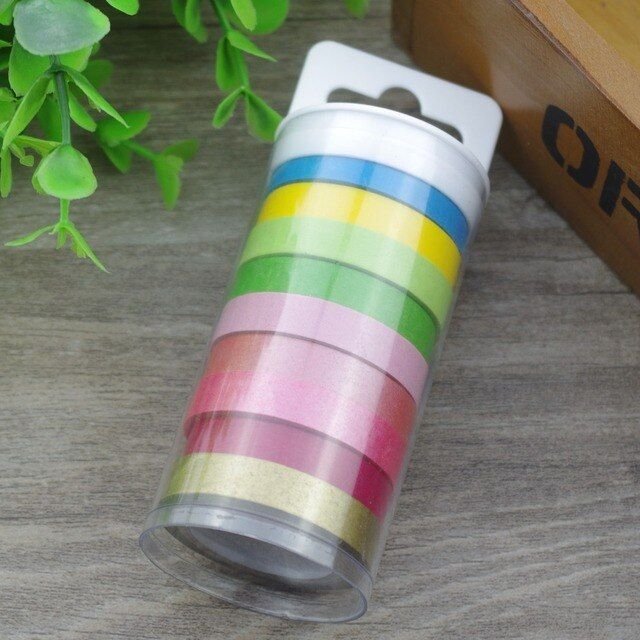 2016 New 9Rolls Plastic Barrel Packed Handheld Rainbow Color Washi Tape School Supply Decorative Masking Tape for Scrapbooking