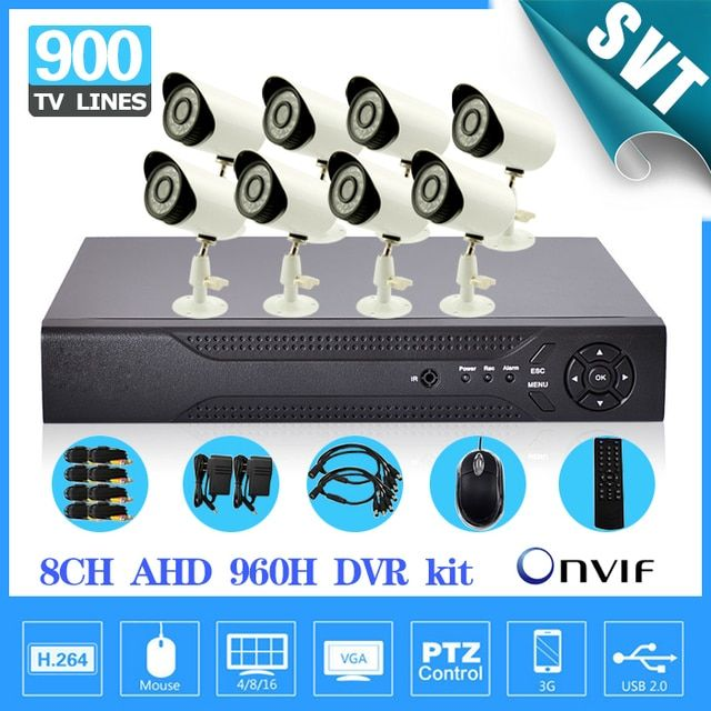 Security 8ch AHD-L CCTV System CCTV 8 channel 960h dvr 900TVL IR cut camera Kit 1tb hdd HDMI 1080P NVR HVR Surveillance Kit