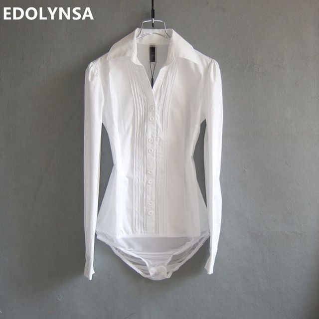 Brand Women Solid OL Long Sleeve White Cotton Casual Body Blouse Shirt Women Tops White Body Shirt Blusas Plus Size S-XL