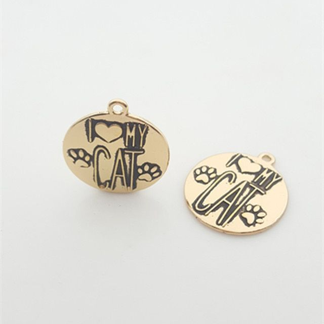 "20pcs Gold color Alloy Message Charms ""I LOVE MY CAT"" Pendant Newest Diy Charm Lots For Jewelry"