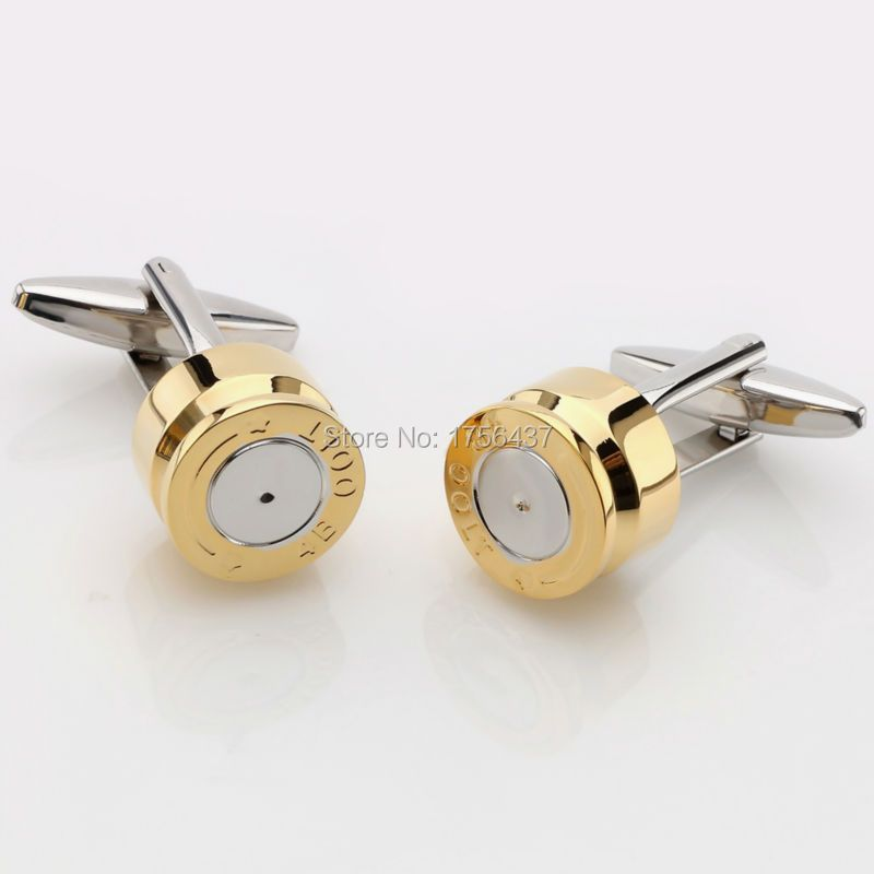 Lepton Bullet Cufflinks for Mens Gold Color Bullet Design Cuff links Men Wedding Groom Shirt Cuffs Cufflink Relojes gemelos