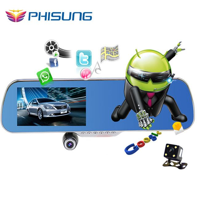 "5.0"" IPS Touch Android 4.4 ROM 16GB FHD1080P dash camera parking car dvrs Rearview mirror video recorder Car DVR Dual Camera GPS"