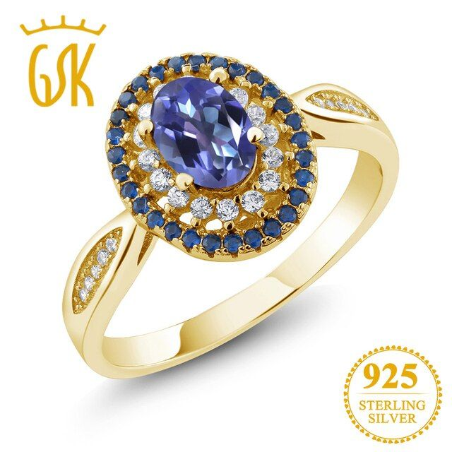 GemStoneKing Solid 925 Yellow Gold Plated Silver Ring 1.55 Ct Purple Tanzanite Blue Mystic Topaz Women's Vintage Ring