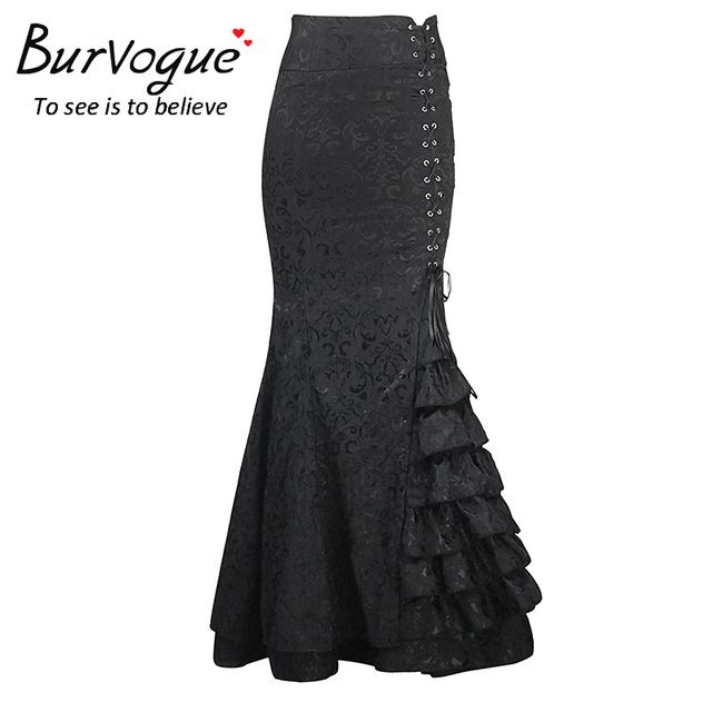 Burvogue 2016 Stylish Long Mermaid Skirt Steampunk High Waist Bodycon Long Skirts Fishtail Lace-Up Slim Vintage trumpet Skirts