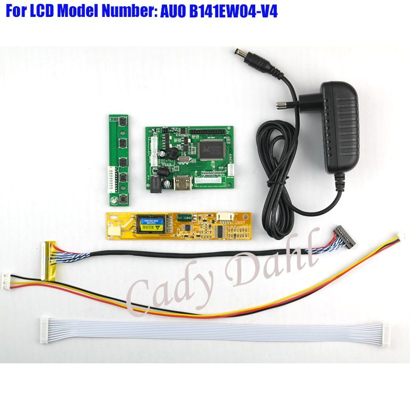 HDMI Controller Board + Backlight Inverter + 30Pins Lvds Cable + Power Adapter Kit for B141EW04-V4 1280x800 1ch 6 bit LCD Panel
