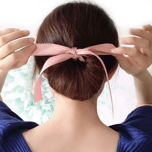 1PC Fashion Women Lady Magic Tools Foam Sponge Messy Donut Bun Hairstyle Bows Elastic Rope Headwear Hair Band Accessories