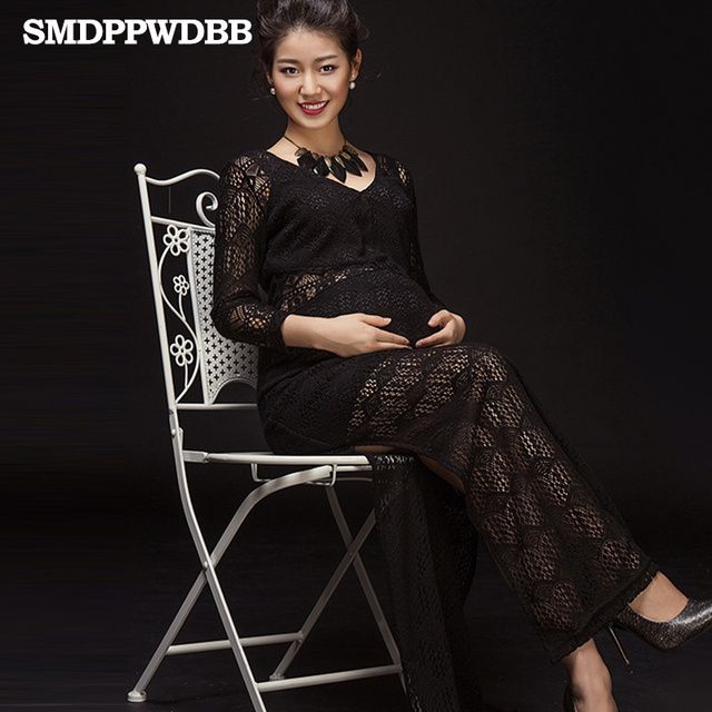 New Maternity Photography Props Maxi Maternity Dress Sexy pregnant women Mesh Dress Fancy Shooting Photo Black