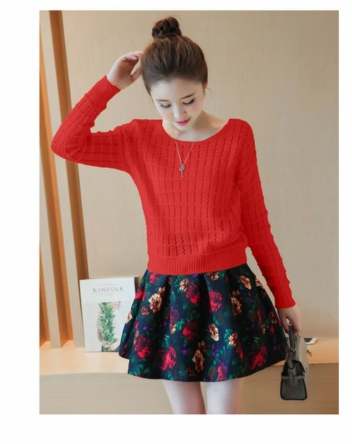 2016 Women Knitted Sweater Solid Color Hollow Out Full Sleeve Casual Loose Sweet Summer And Fall Pullovers Girls Sweater